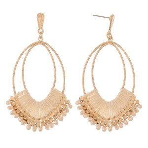 """Thread wrapped oval beaded boho drop earrings.  - Approximately 2.75"""" L"""