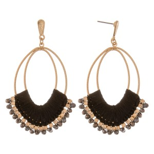 "Thread wrapped oval beaded boho drop earrings.  - Approximately 2.75"" L"