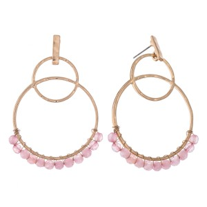 "Natural Stone Beaded Circle Linked Drop Earrings.  - Approximately 2.5"" L"