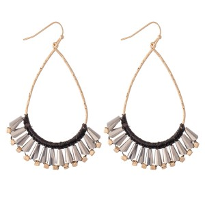 """Thread Wrapped Cone Beaded Teardrop Earrings.  - Approximately 2.75"""" L"""
