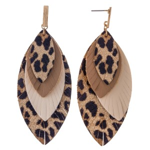 Three Tone Faux Leather Leopard Print Feather Layered Drop Earrings.