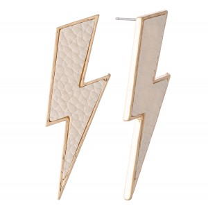 """Faux Leather Statement Lightning Bolt Earrings.  - Approximately 2"""" L"""
