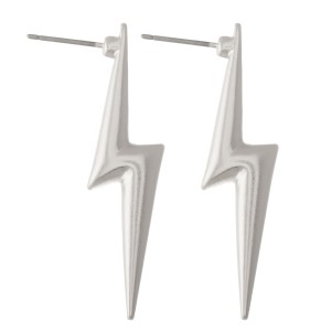 "Metal lightning bolt earrings - Approximately 1.5"" L"