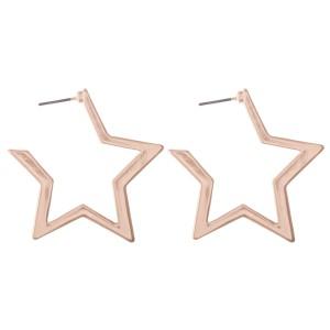 """Sleek star shaped metal hoop earrings  - Approximately 2"""" L"""
