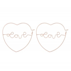 Brass Metal Wire Love Script Heart Hoop Earrings.  - Approximately 1.25""