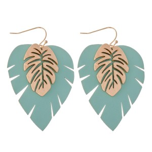"""Faux Leather Palm Leaf Drop Earring Featuring a Gold Palm Leaf.  - Approximately 2"""" L"""