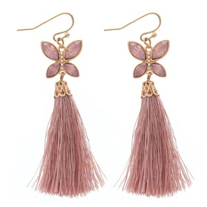 """Tassel earrings featuring a jeweled butterfly accent.  - Approximately 3"""" L"""