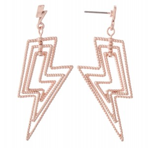 """Textured Metal Layered Lightning Bolt Drop Earrings.  - Approximately 2"""" L"""