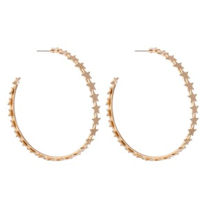 "Brass Metal Hoop Earrings Featuring Star Accents.  - Approximately 2"" in diameter"