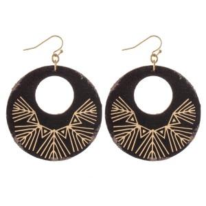"Retro Faux Leather Metallic Tribal Print Drop Earrings.  - Approximately 2.5"" L - 2"" in diameter"