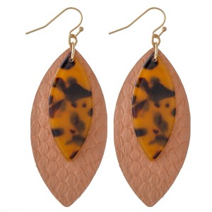 "Faux Leather Snakeskin Drop Earrings with Resin Accent.  - Approximately 3"" L"