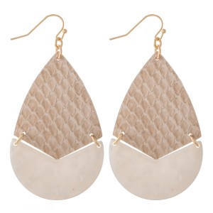 "Faux Leather Snakeskin Resin Hinge Teardrop Earrings.  - Approximately 2.5"" L"