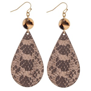 """Snakeskin Teardrop Earrings Featuring Resin Accent.  - Approximately 3"""" L"""