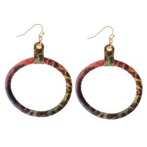 """Flexible Leopard Print Cork Drop Earrings.  - Approximately 3"""" L  - 2"""" in diameter"""