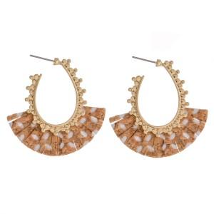 "Cork Flower Tassel J-Hoop Earrings.  - Approximately 1.5"""