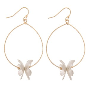 """Two tone flower drop earrings.  - Approximately 2.5"""" L"""