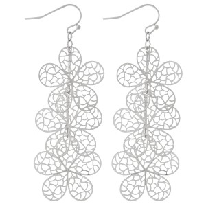 "Silver Tone Filigree Flower Linked Drop Earrings.  - Approximately 3"" L"