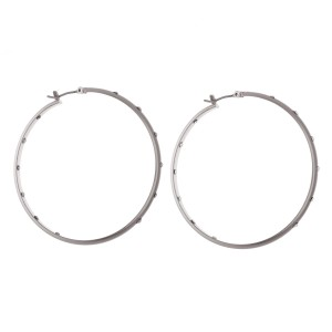 "Outer and Inner Rhinestone Hoop Earrings.  - Approximately 2"" in diameter"