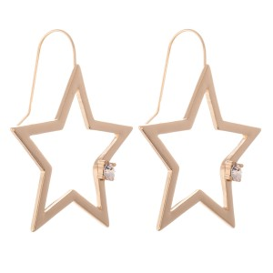 """Star Drop Earrings with Rhinestone Detail.  - Approximately 1.5"""" L"""