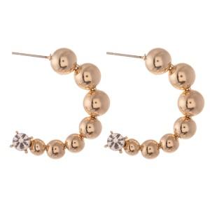 """CCB Beaded Rhinestone Open Hoop Earrings.  - Approximately 1.25"""" in diameter"""