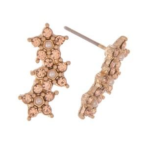 "Rhinestone Star Ear Climber Earrings.  - Approximately .75"""