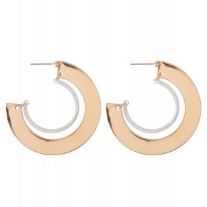 """Two Tone Flat Hinge Hoop Earrings.  - Approximately 1.5"""" in diameter"""