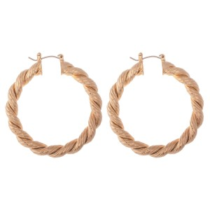 "Gold Rope Twisted Hoop Earrings.  - Approximately 2"" in diameter - Hoop Thickness 5mm"