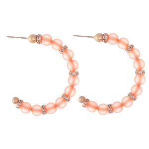 """Matte Beaded Rhinestone Hoop Earrings.  - Approximately 1.5"""" in diameter"""