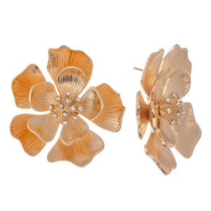 "Gold Rhinestone Flower Statement Earrings.  - Approximately 1.25"" in diameter"