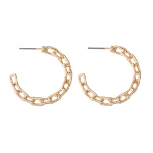 "Chain Link Hoop Earrings.  - Approximately 1"" in diameter"