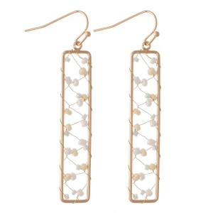 "Wire Beaded Bar Drop Earrings.  - Approximately 2.5"" L"