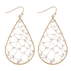"Wire Beaded Teardrop Earrings.  - Approximately 2.25"" L"