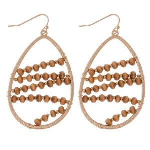 """Wire Wood Beaded Teardrop Earrings.  - Approximately 2"""" L"""