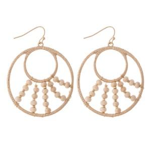 "Wire Wood Beaded Drop Earrings.  - Approximately 2"" L  - 1.75"" in diameter"