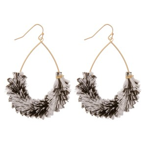 "Textured fringe tassel teardrop earrings.  - Approximately 2.5"" L"