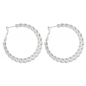 "Flat Brass Curb Chain Hoop Earrings.  - Approximately 1.5"" in diameter"