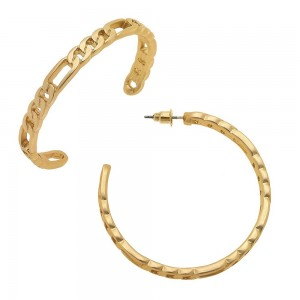 "Figaro Chain Link Hoop Earrings in Matte Gold.  - Approximately 2"" in diameter"