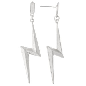 "Metal Lightning Bolt Drop Earrings.  - Approximately 2""  L"
