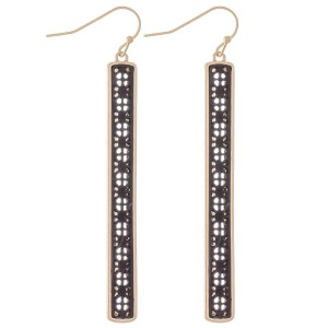 "Two Tone Filigree Bar Earrings.  - Approximately 2.75"" L"