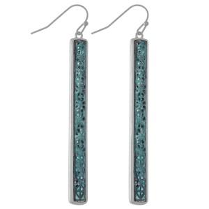 "Two Tone Patina Filigree Bar Earrings.  - Approximately 2.75"" L"