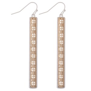 "Two Tone Filigree Bar Earrings.  - Approximately 2.75"" L"