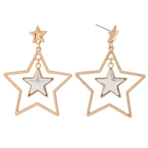"""Two Tone Nested Star Drop Earrings.  - Approximately 2"""" L"""