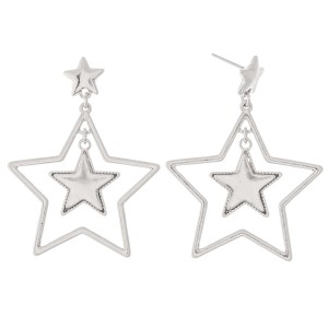 """Nested Star Drop Earrings.  - Approximately 2"""" L"""