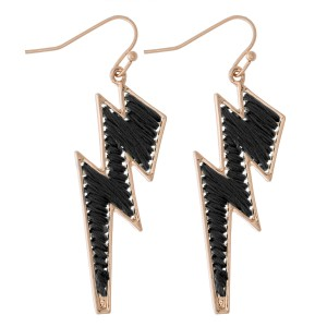 """Thread Wrapped Lightning Bolt Drop Earrings.  - Approximately 2"""" L"""