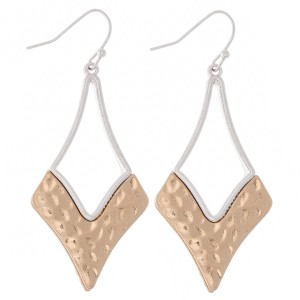 """Two Tone Foundry Hammered Drop Earrings.  - Approximately 2"""" L"""