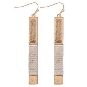 """Two Tone Statement Bar Earrings with Textured Detail.  - Approximately 2.5"""" L"""