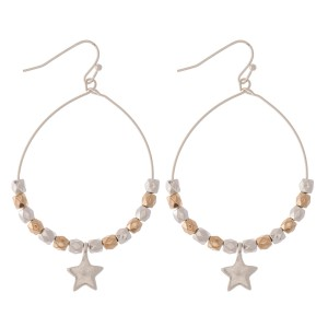 """Two Tone Beaded Star Drop Earrings.  - Approximately 2.5"""" L - Approximately 1.5"""" in diameter"""