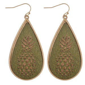 "Wooden Pineapple Stamped Teardrop Earrings.  - Approximately 2.25"" L"