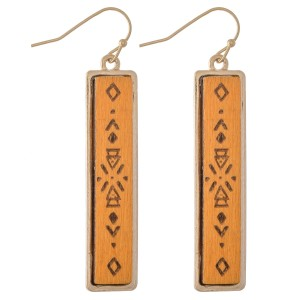 "Wooden Tribal Print Bar Drop Earrings.  - Approximately 2"" L"