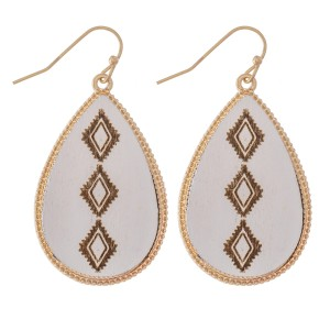 """Wooden Tribal Stamped Teardrop Earrings.  - Approximately 1.5"""" L"""